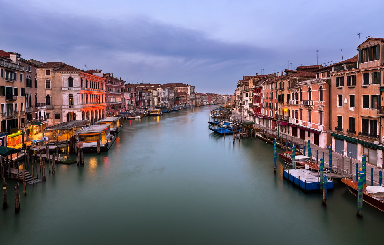 Фото обои Италия, Венеция, канал, Italy, sunset, Venice, Panorama, channel, Grand Canal