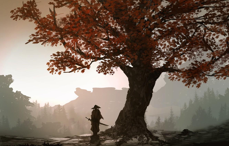 Фото обои осень, листья, дерево, человек, меч, воин, арт, самурай, DeviantArt, TacoSauceNinja