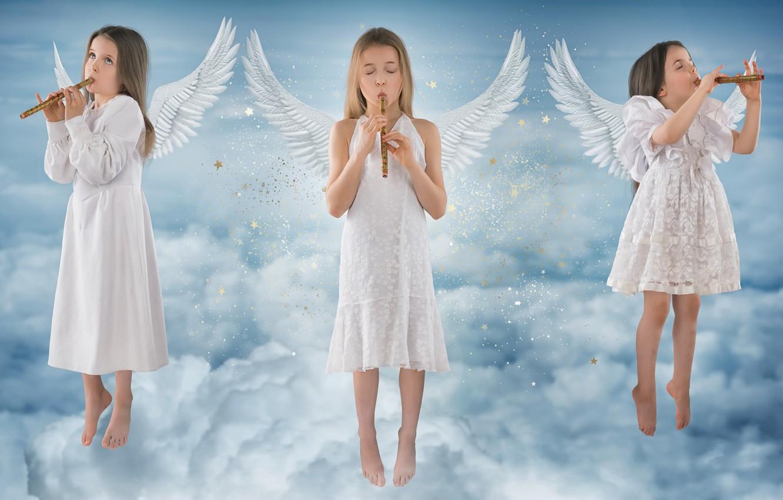 Фото обои небо, музыка, девочки, ангелы