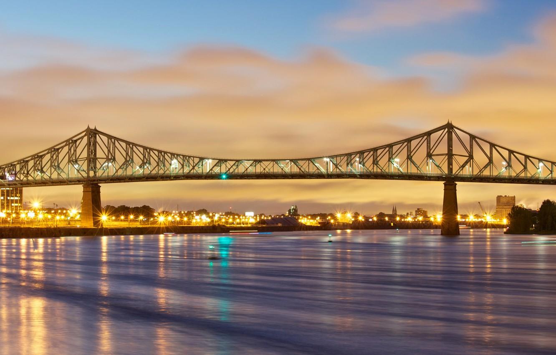 Фото обои огни, Канада, Монреаль, Мост Жак-Картье