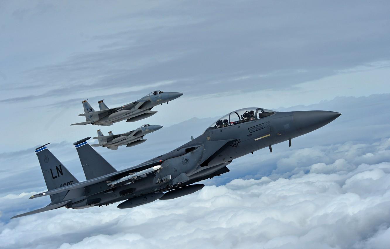 Фото обои истребители, F-15E Strike Eagle, McDonnell Douglas, F-15C Eagle