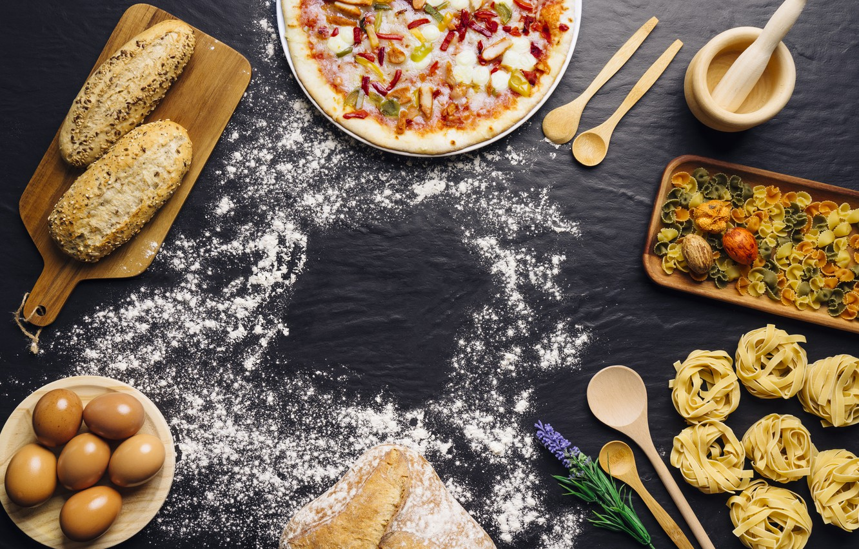 Фото обои еда, яйца, хлеб, пицца, food, pizza, мука, bread, Italian, pasta