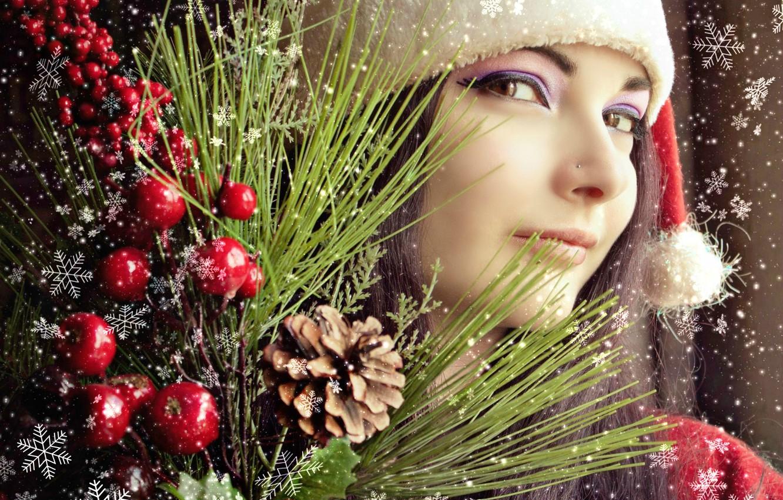 Фото обои зима, девушка, радость, праздник, новый год, рождество, Новый Год, брюнетка, снегурочка, азиатка, снегопад, красивая девушка, …