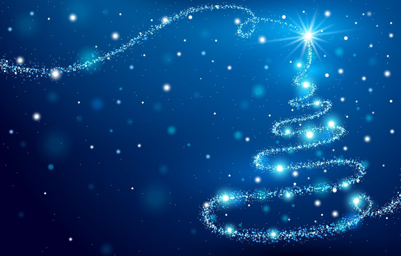 Фото обои елка, новый год, синий фон