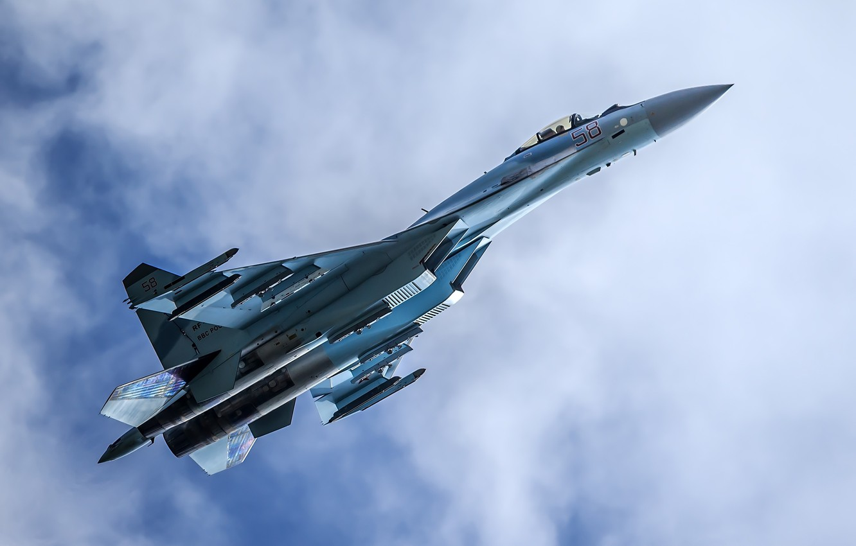 Фото обои истребитель, полёт, Су-35, многоцелевой