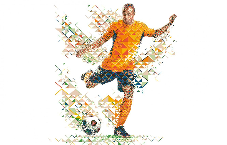Фото обои футбол, мяч, футболист, soccer, low poly