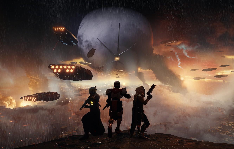 Фото обои gun, pistol, game, weapon, Bungie, rifle, hunter, warlock, Destiny, titan, Destiny 2