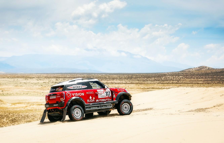 Фото обои Песок, Красный, Mini, Спорт, Пустыня, Скорость, Гонка, Rally, Dakar, Дакар, Внедорожник, Ралли, X-Raid Team, MINI …