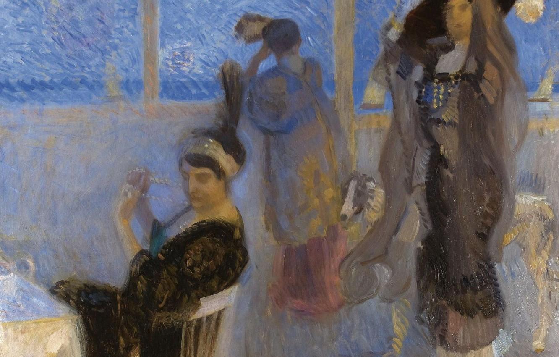 Фото обои женщины, картина, жанровая, На Террасе, Камилло Инноченти