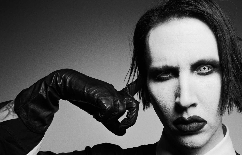Фото обои музыка, образ, черно - белое, Marilyn Manson, Мэрлин Мэнсон