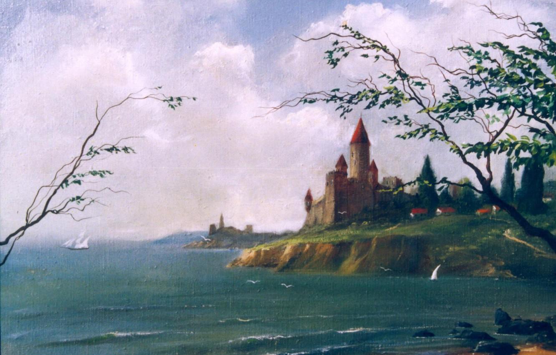 Фото обои замок, берег, Морской пейзаж, 1995, Айбек Бегалин