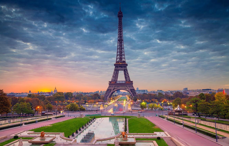 Фото обои рассвет, Франция, Париж, панорама, Эйфелева башня