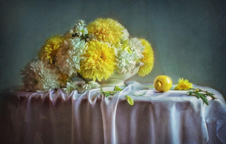 Фото обои цветы, лимон, картина, хризантемы