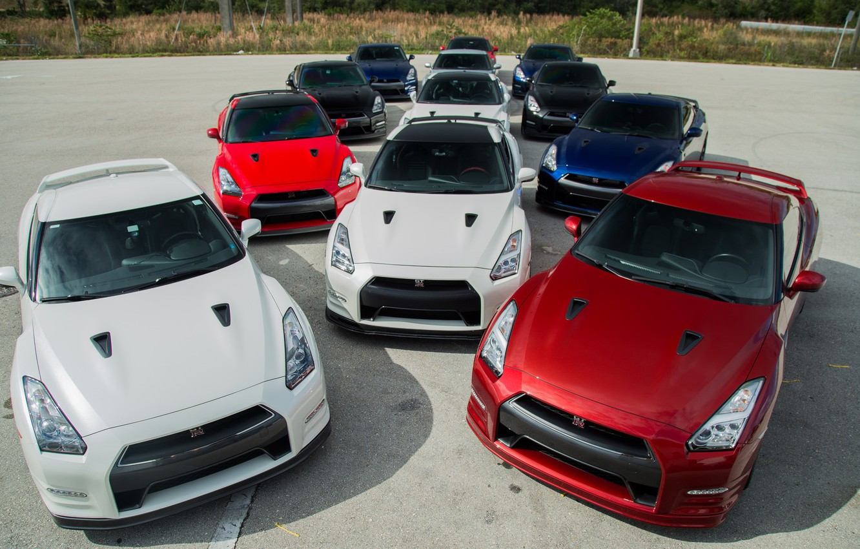 Фото обои GTR, Nissan, Blue, Black, White, R35, RED