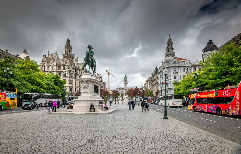 Фото обои Улица, Здания, Португалия, Street, Portugal, Порто, Porto, Buildings, Памятник