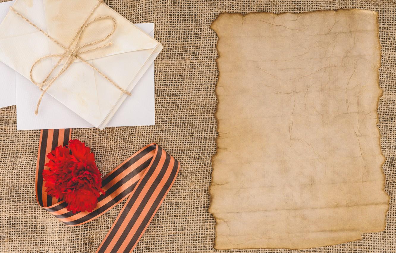 Фото обои цветы, день победы, лента, Праздник, 9 мая, письма