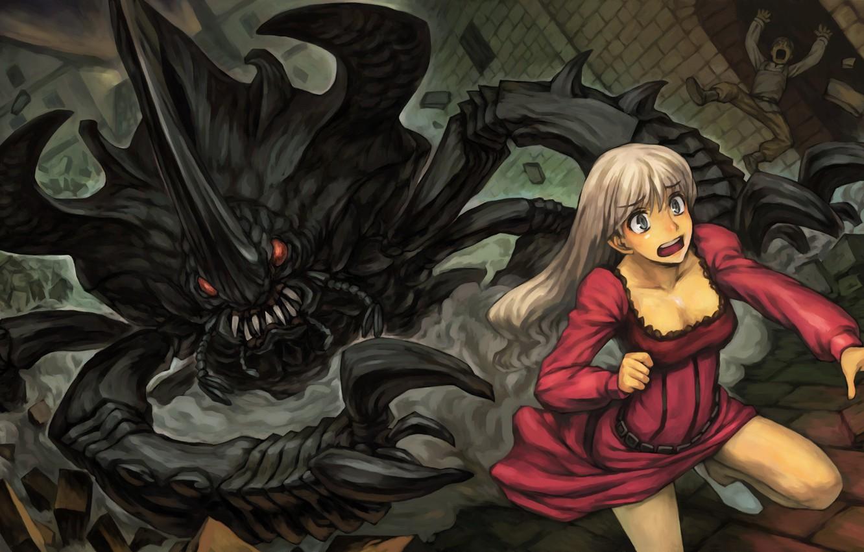 Фото обои girl, fear, creature, Dragon's Crown