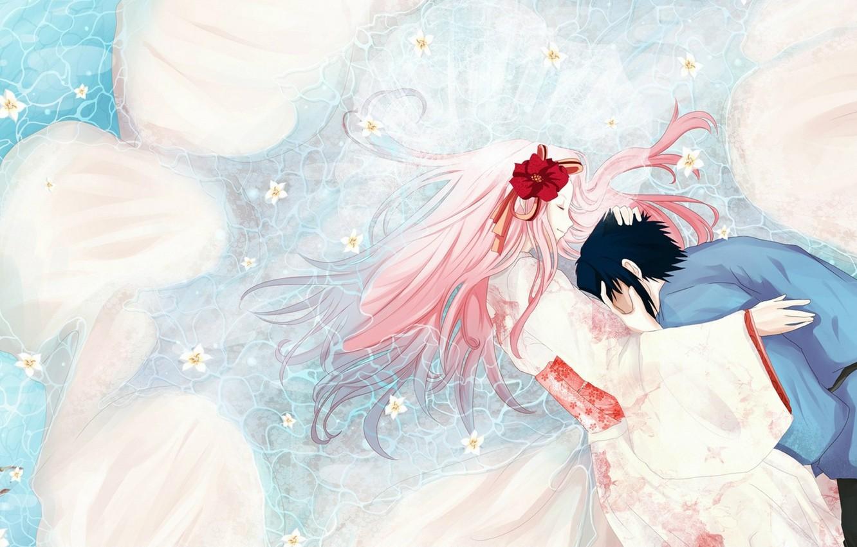 Фото обои объятия, кимоно, в воде, розовые волосы, закрытые глаза, Sasuke Uchiha, Sakura Haruno, Naruto Shippuden, белые …