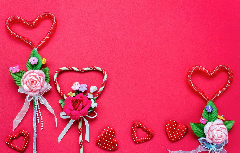 Фото обои Love, Цветы, Сердечки, Праздник, День влюбленных