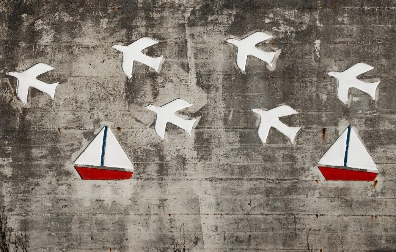 Фото обои птицы, стена, корабли