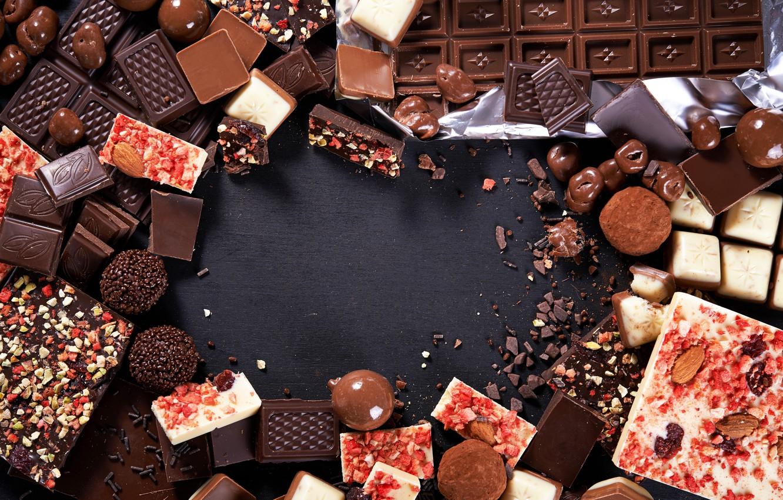 Фото обои темный, шоколад, конфеты, орехи, десерт, сладкое, chocolate, вкусно, sweet, nuts, candies, кусочек, молочный