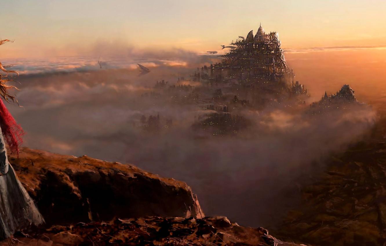 Фото обои фантастика, фильм, пустыня, Лондон, широкоформатная, концепт арт, антиутопия, Mortal Engines