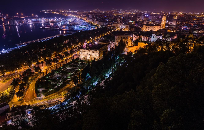 Обои ночь, Malaga city, spain. Города foto 9