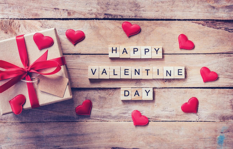 Фото обои праздник, подарок, надпись, сердечки, день влюбленных
