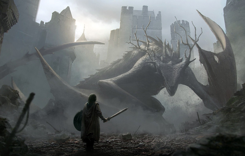 Фото обои дракон, рыцарь, aproaching a dragon, Jan Ditlev