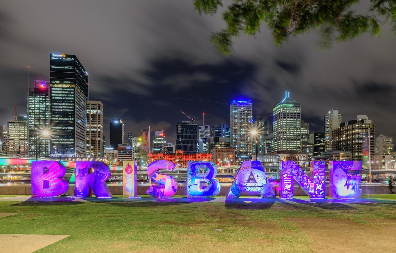 Фото обои ночь, огни, небоскребы, Австралия, мегаполис, Брисбен