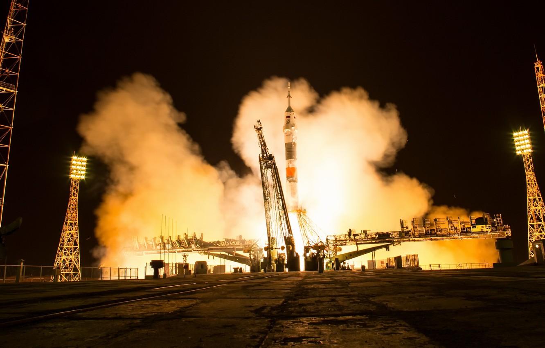 Фото обои NASA, старт, Soyuz MS-08