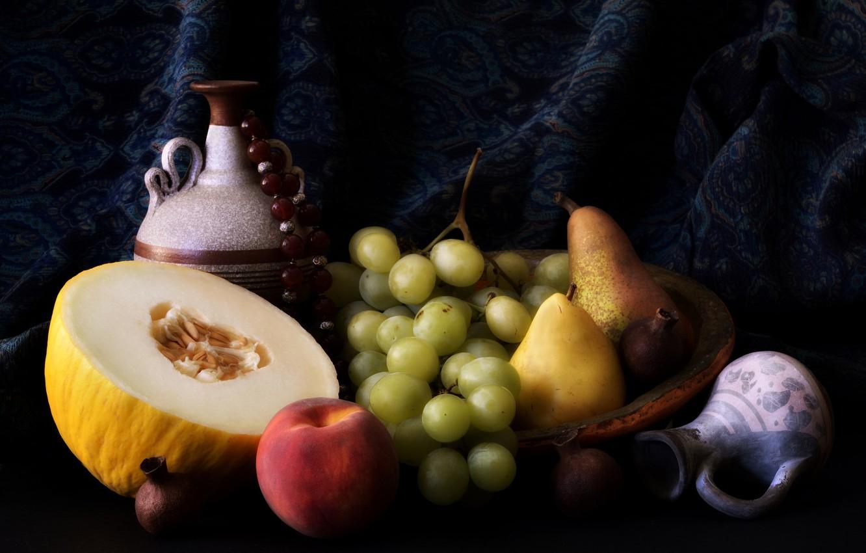 Фото обои виноград, фрукты, персики, груши, дыня