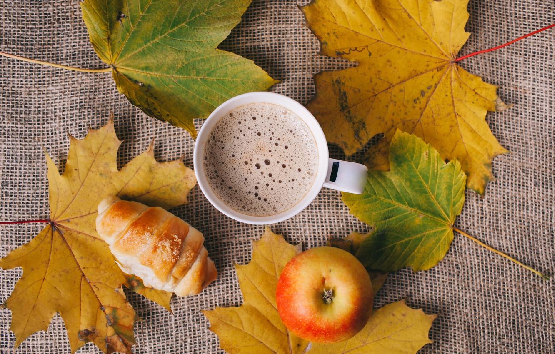 Фото обои листья, яблоко, Кофе