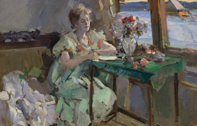 Фото обои девушка, интерьер, картина, импрессионизм, Константин Коровин, У Окна
