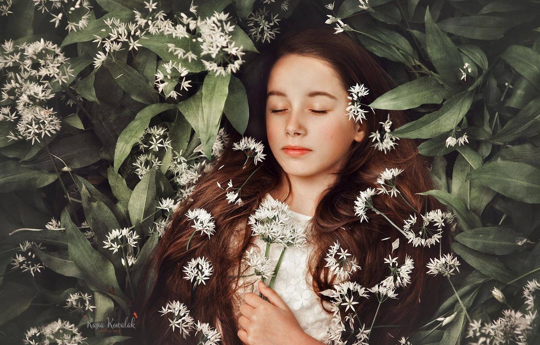 Фото обои цветы, сон, девочка, длинные волосы, закрытые глаза, спящая девочка, Kasia Kowalak