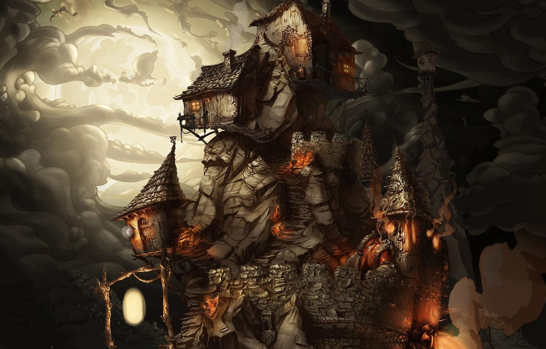 Фото обои ночь, дым, game, полнолуние, лачуги, каменная стена, The Whispered World, на горе, жилище ведьм, Ускользающий …