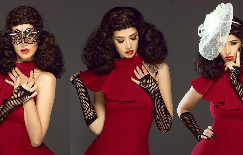Фото обои стиль, модель, макияж, маска, шляпка, причёска, красное платье, митенки, Janessa Zamora