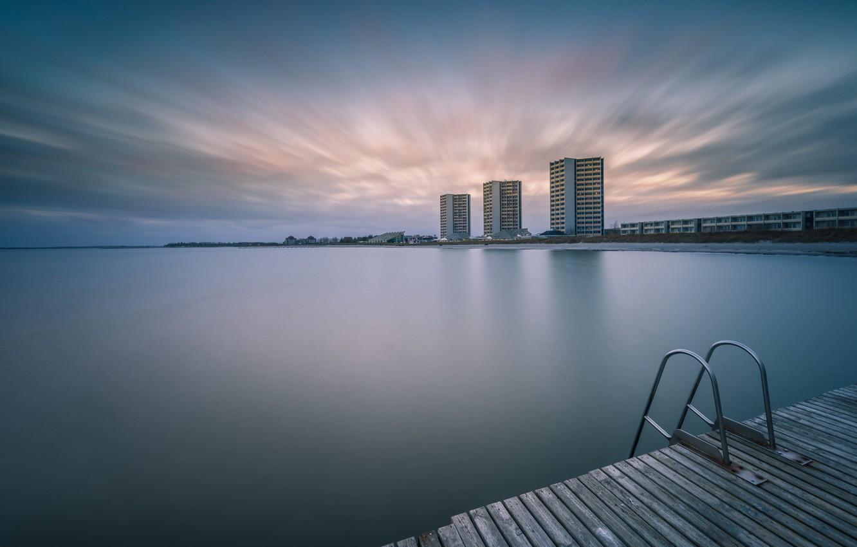 Фото обои море, мост, берег
