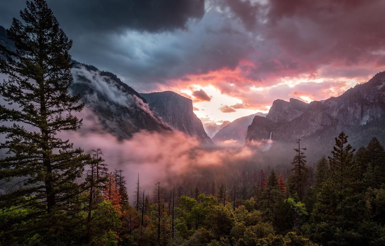 Обои mountains, Sunset, the. Природа foto 10