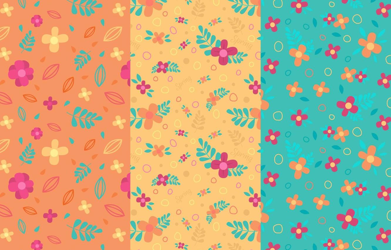 Фото обои цветы, текстура, листочки, оранжевый фон, голубой фон