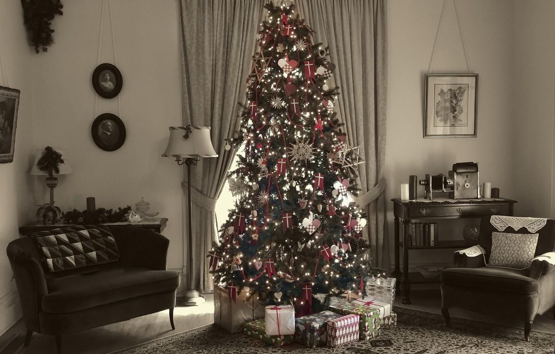Фото обои дом, праздник, ёлка, Merry Christmas