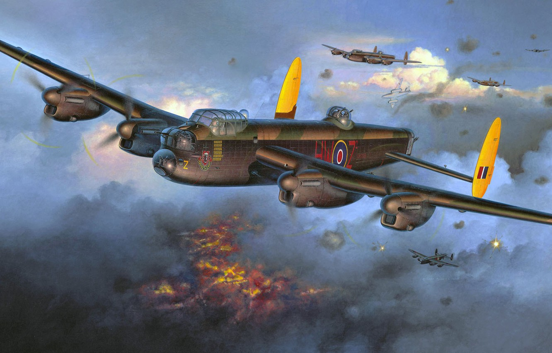 Обои avro lancaster, бомбардировщик, четырёхмоторный. Авиация foto 6