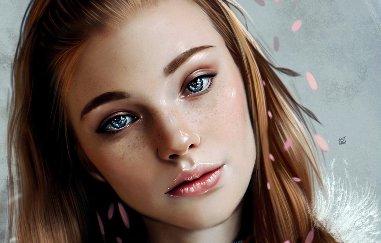 Фото обои Girl, art, blue eyes, lips, face, redhead, digital art, artwork, portrait, mouth, close up, freckles, …