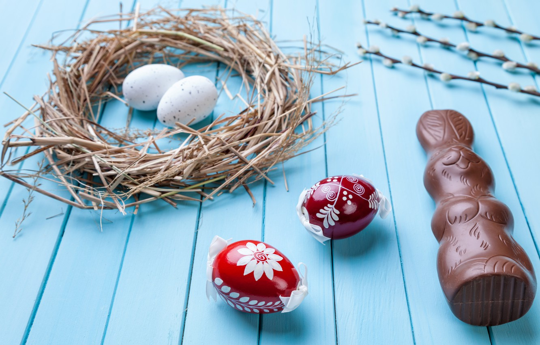 Фото обои шоколад, яйца, colorful, кролик, конфеты, Пасха, wood, верба, chocolate, spring, Easter, eggs, bunny, candy, decoration, …