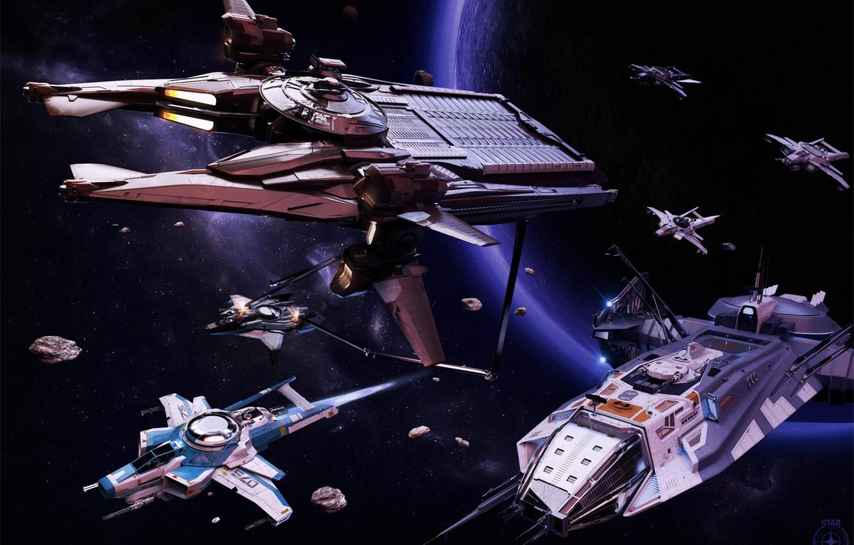Фото обои планета, космические корабли, Anvil Star Citizen