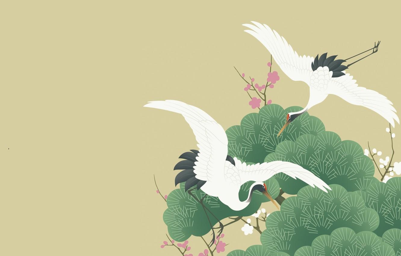 Фото обои деревья, рисунок, вектор, весна, сакура, арт, пара, полёт, журавль