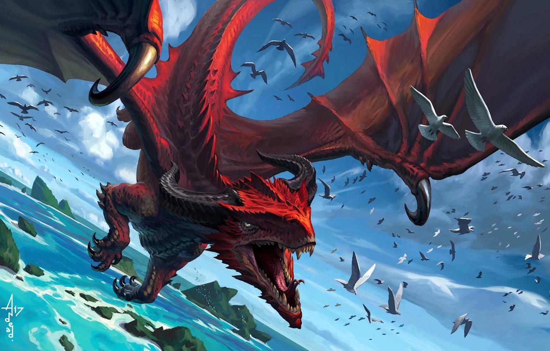 Фото обои fantasy, Dragon, horns, sea, flying, wings, rocks, birds, fly, digital art, artwork, fantasy art, doves, …