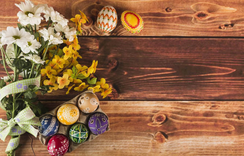 Фото обои Цветы, Весна, Пасха, Яйца, Праздник