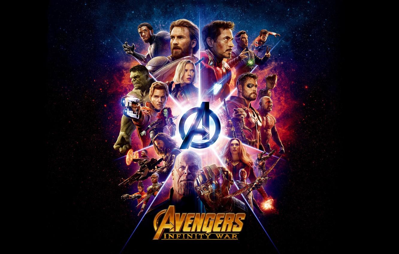Фото обои фантастика, логотип, Scarlett Johansson, черный фон, постер, персонажи, комикс, Benedict Cumberbatch, Robert Downey Jr., MARVEL, …