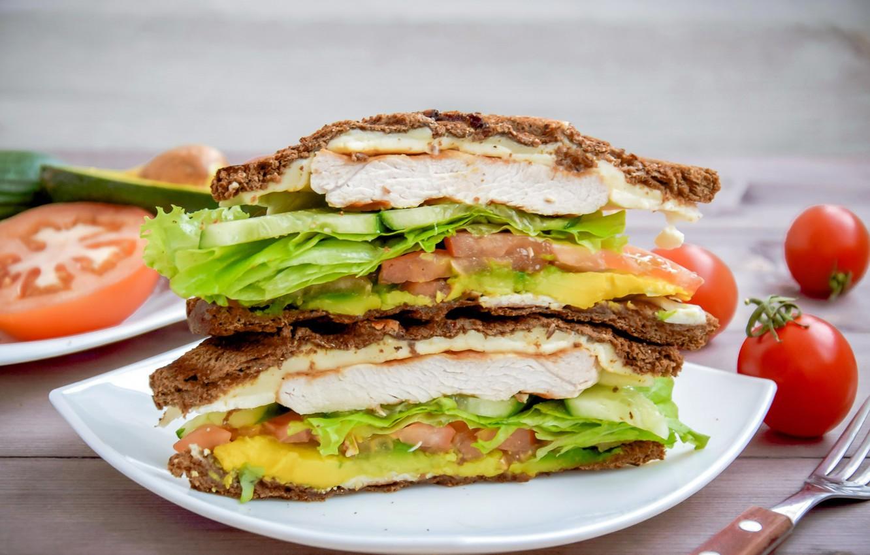 Фото обои зелень, бутерброд, помидор, салат, индейка